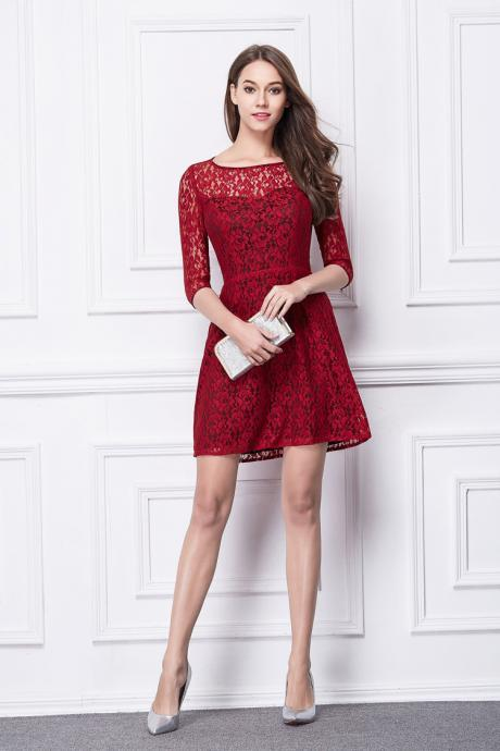 Red Lace Short Dress Boat Neck High Waist Prom Dress Cocktail Party Dress MIni Dress