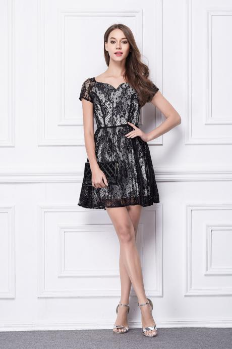 Cap-sleeves Sweetheart Mini Cocktail Party Dress High Waist Mini Dress Little Black Dress