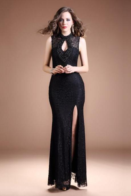 Black Lace High Neck Evening Gown With Keyhole Back